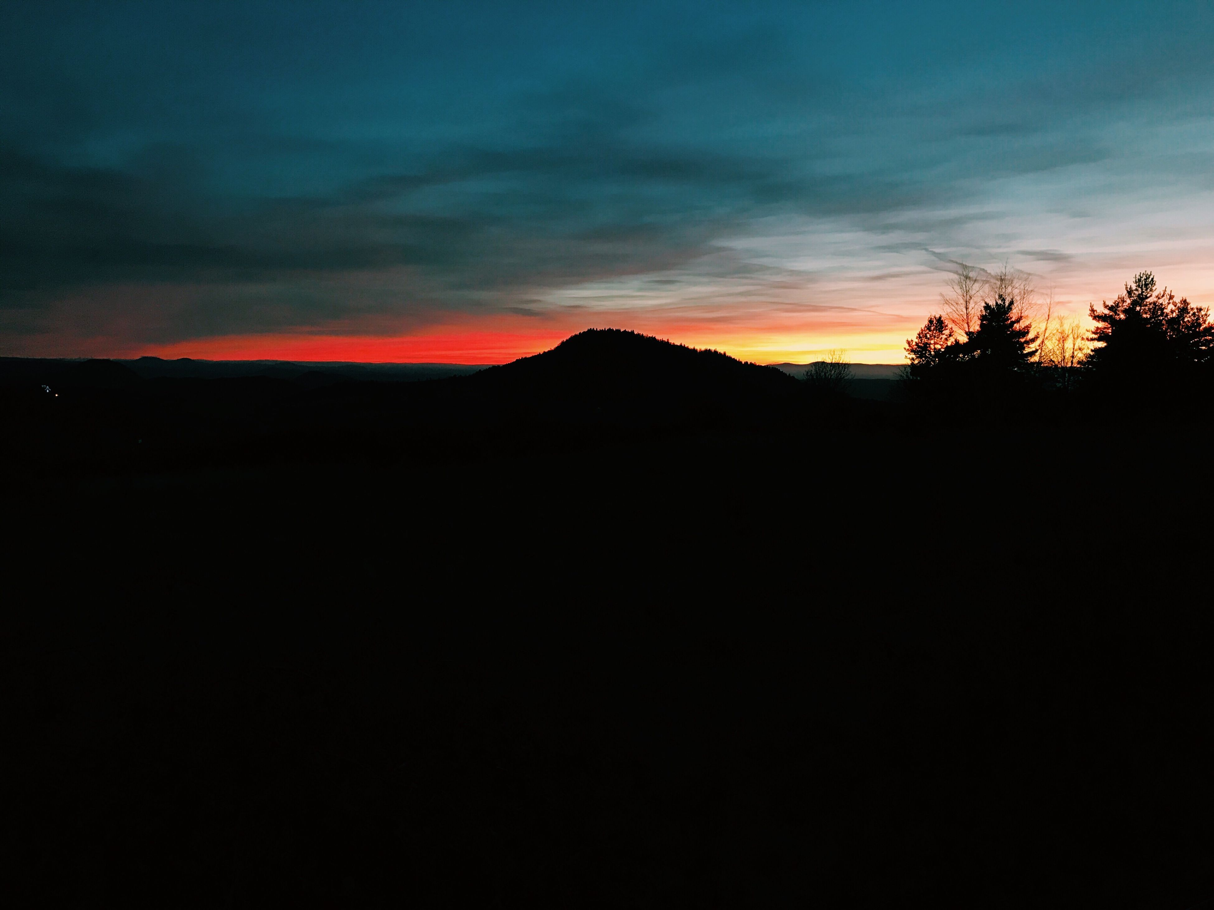 sunset, nature, beauty in nature, space and astronomy, sky, silhouette, outdoors, astronomy, no people, mountain, night, star - space, galaxy