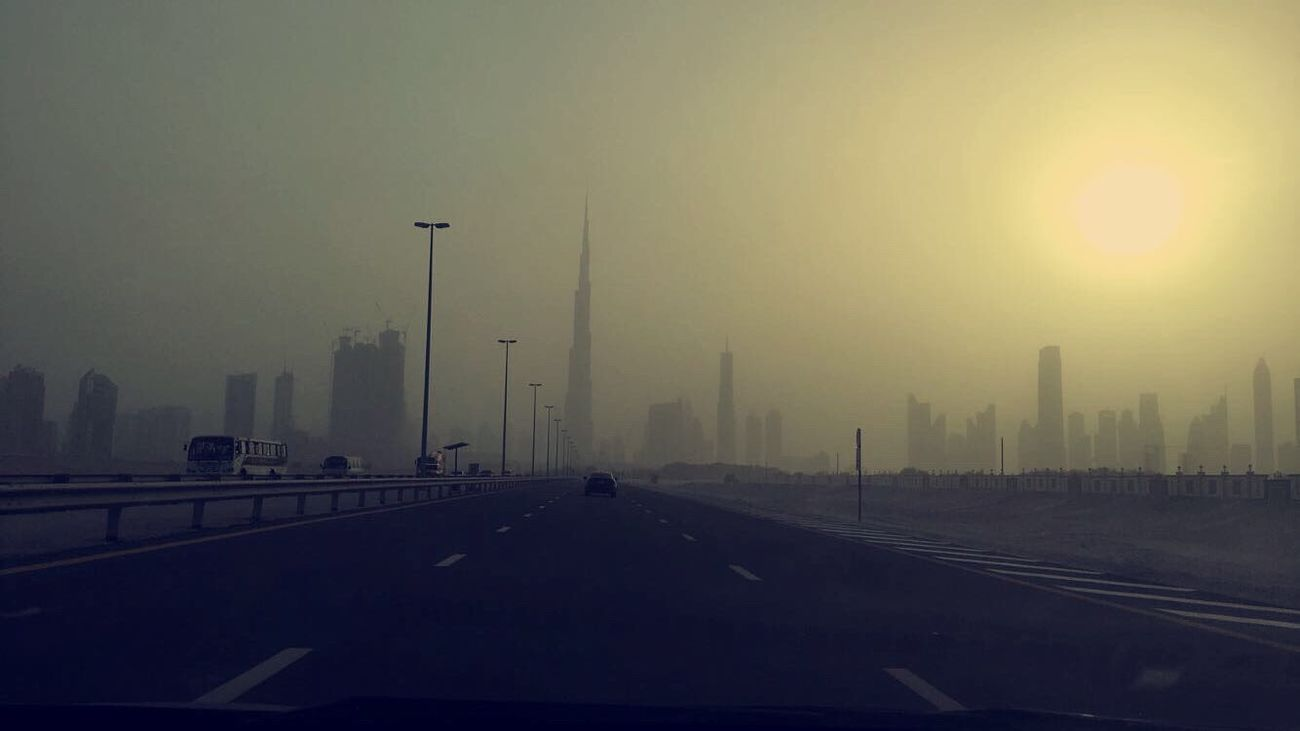 Road Dubai UAE Burj Khalifa Building Fog Sandy No Filter, No Edit, Just Photography