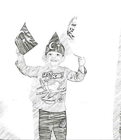 Atatürk 23 Nisan Flag Baloon Sketch Draving Happy Celebration Festival Entusiasmo