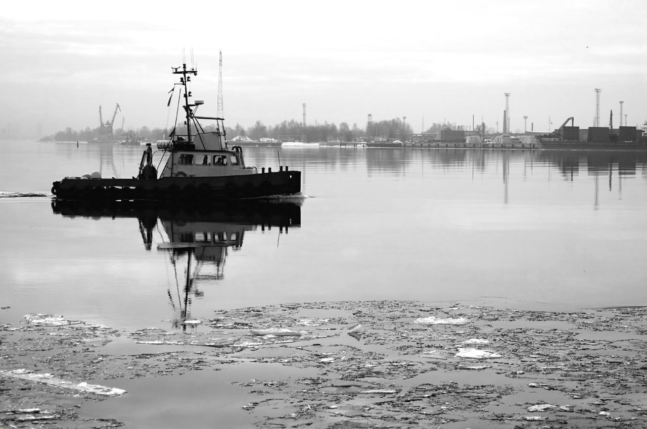 Army Beauty In Nature Black And White Blackandwhite Boat Border Borderline Day Harbour Longboat Mode Of Transport Moored Nature Nautical Vessel No People Outdoors Police Reflection Safety Sea Sky Transportation Water