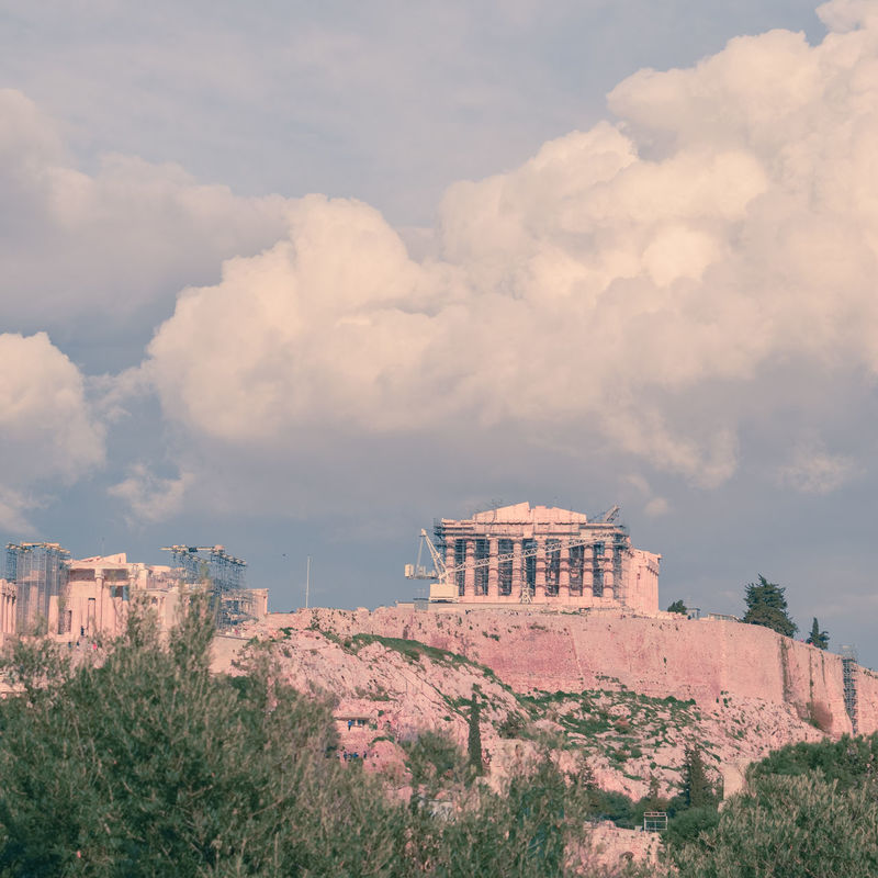 The Ancient Ruins of Greek Temple Pathenon ( Acropolis, Athens ) under the clouds. Dramatic Sky Moody Sky Pastel Colors Pastel Power Square Format Urban Landscape Acropolis View Visit Greece Greece