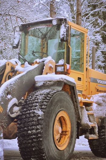 Big yellow truck Machinery Construction Vehicle Outdoors No People Wintertime In The Details Construction Machinery Land Vehicle Construction Site Tree Tire Day Market