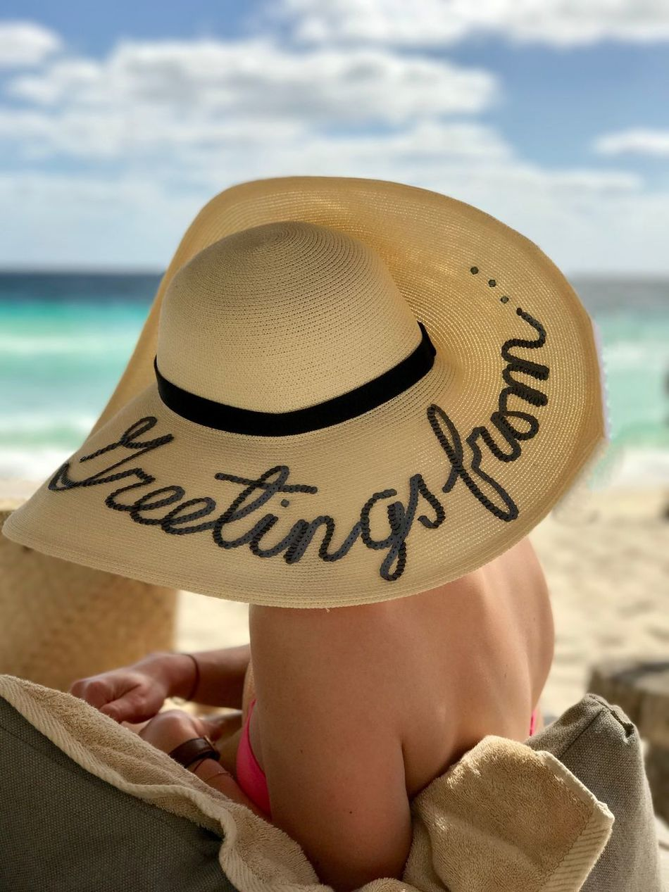Beach Sea Hat Sand Close-up Real People Focus On Foreground Vacations Communication One Person Sky Sun Hat Water Day Outdoors Nature People Mexico Horizon Over Water