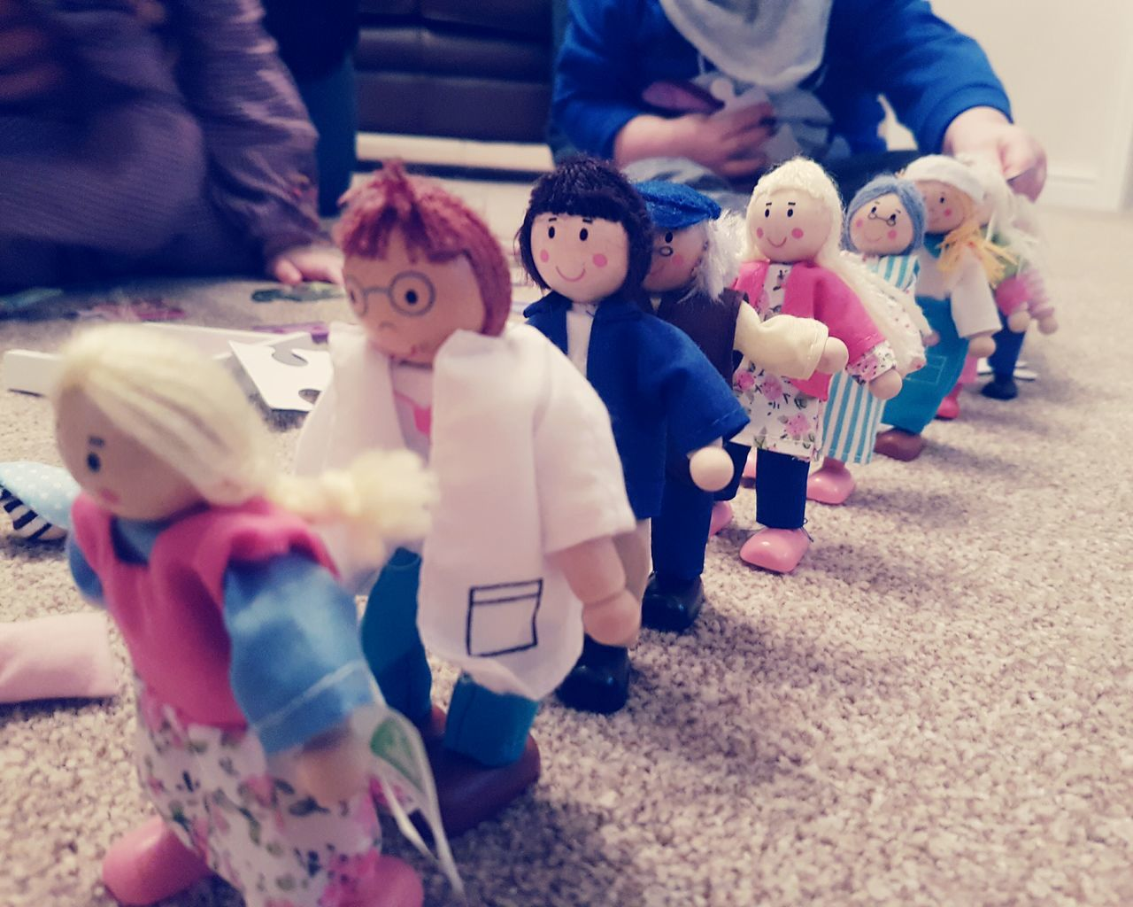 Toys on parade People Indoors  Human Hand Toys Toysphotography Dolls Wooden Toys Vintage Toys Wooden Dolls Early Learning Childhood Playing Playing Games Queing Lines Lining Up Rows Of Things Rows