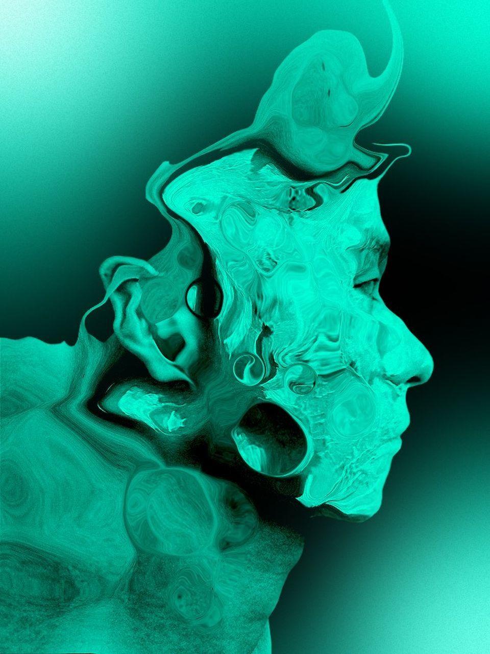 green color, statue, sculpture, close-up, no people, studio shot, indoors, day