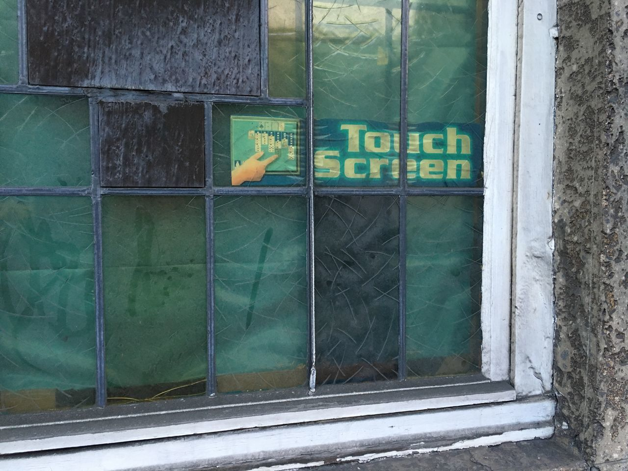 Touch screen? Bar Dirty Window Gambling Gambling Room Green Color Hand Pub Touch Screen Touch Screen And Hands Window