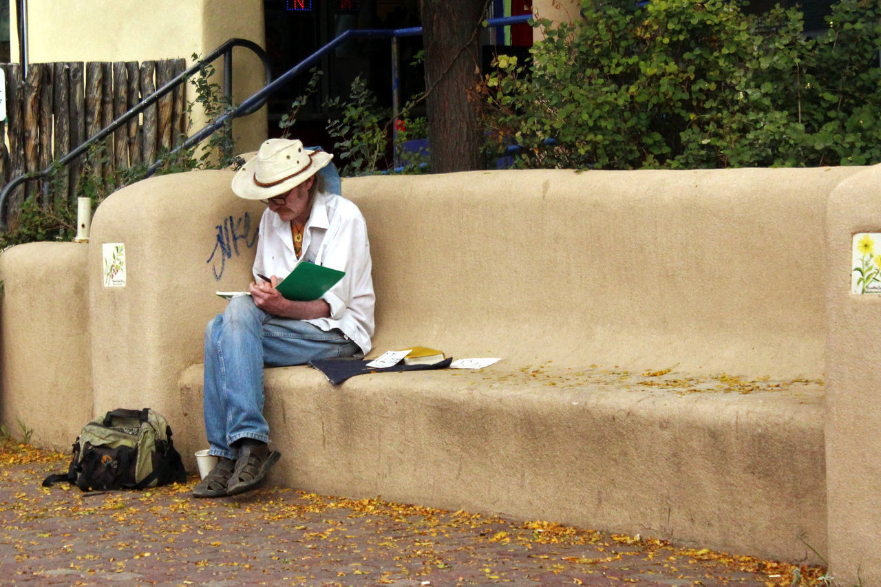 Writer on bench, Taos, New Mexico. Alone Artist Artist Haven Artistic New Mexico Raggedy Sitting Solitary Southwest  Starving Artist Taos Writer Writing