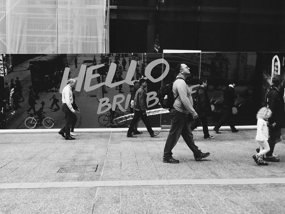 Hello 🖐 from Brisbane !Feel The Journey Walk On Streetphotography Streetphoto_bw VSCO Vscophile Vscoaustralia People Watching Black And White Showcase June People And Places