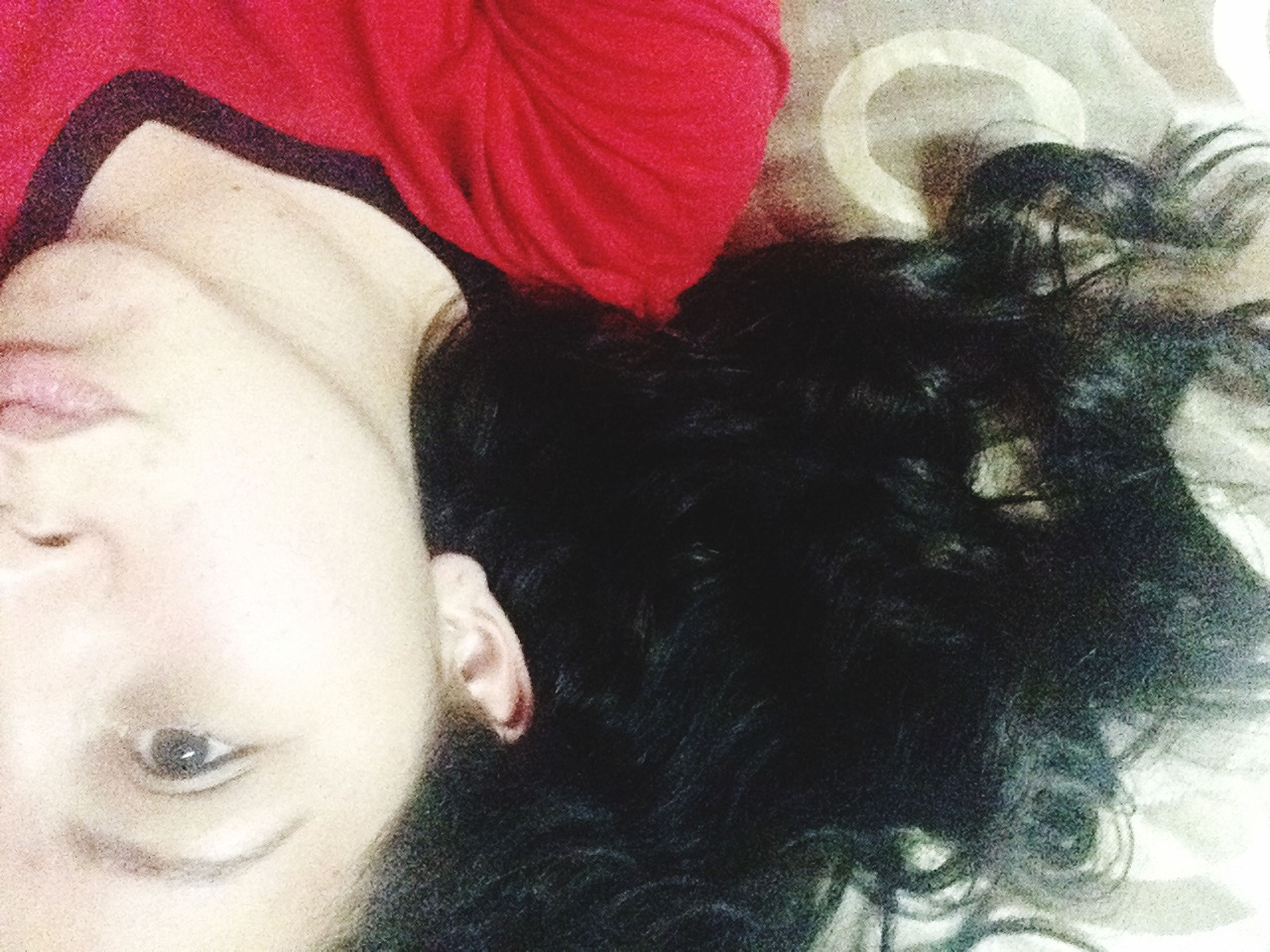 indoors, lifestyles, young women, headshot, young adult, person, leisure activity, relaxation, bed, eyes closed, close-up, lying down, front view, home interior, looking at camera, high angle view, human face