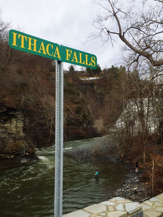Outdoors Nature Day Waterfall Ithaca Ithaca Falls Road Sign Text