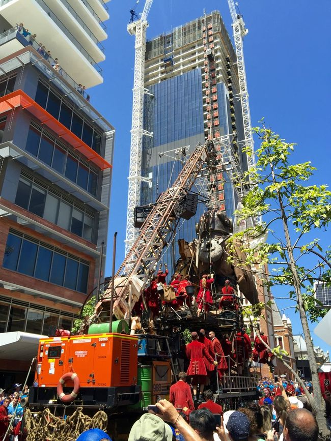 PERTH, AUSTRALIA-FEBRUARY 14, 2015: Journey of the Giants, Giant Marionette Diver and Crane in the city, public International Arts Festival Art Art Event Australia Australianshepherd Belts And Pulleys City Cityscape Crane Crowds Culture Diver Festival Giant Human International Journey Marionette People Puppeteers Walking Winchester Wooden