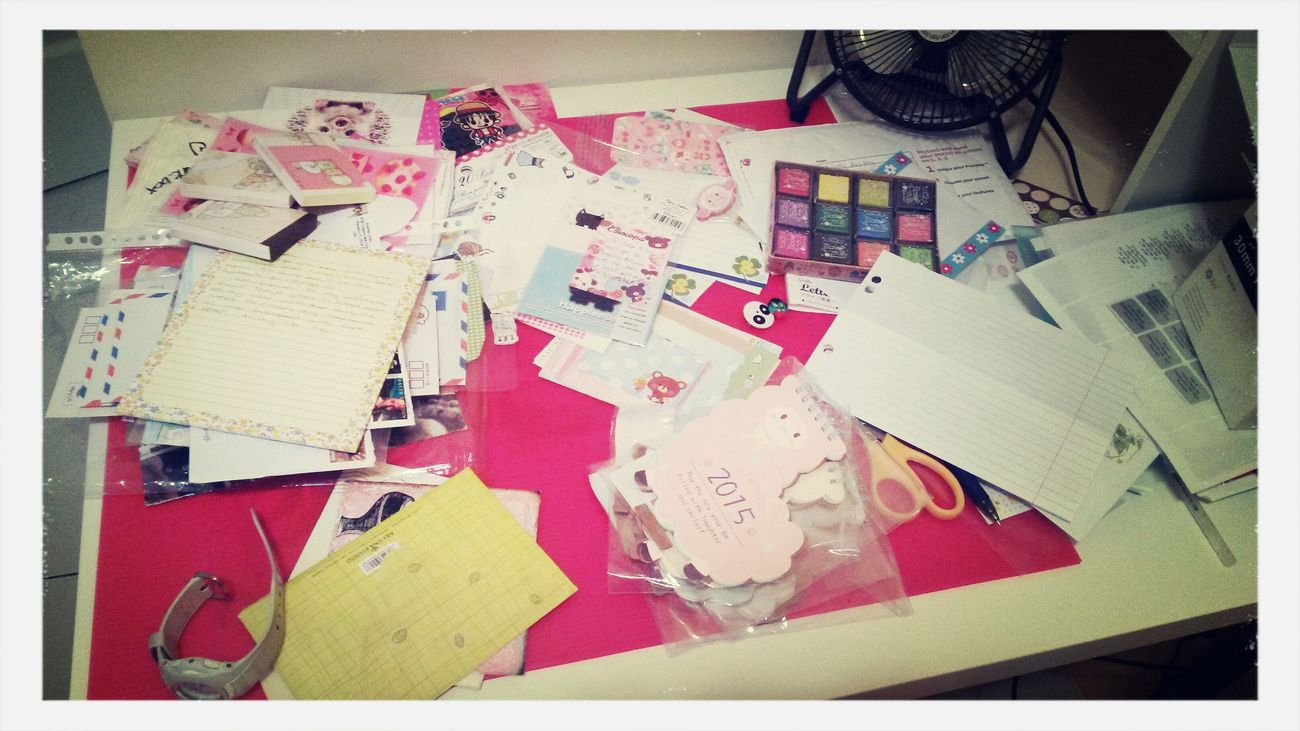 """My incredibly disorganised """"work space"""" It's Business Time Penpals Snail Mail"""