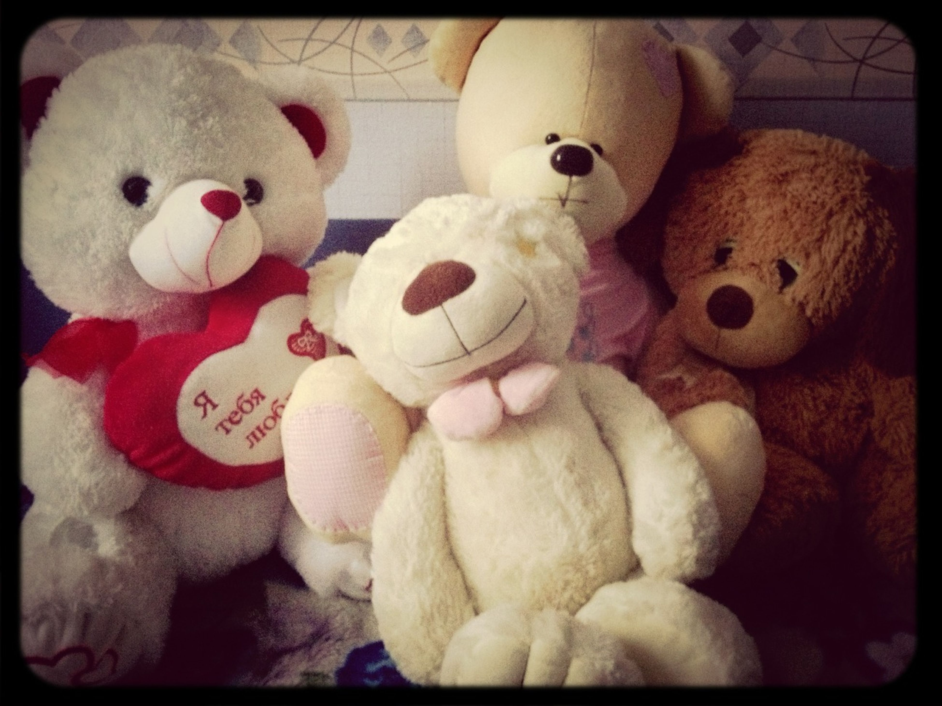 indoors, stuffed toy, toy, transfer print, still life, auto post production filter, animal representation, childhood, variation, teddy bear, multi colored, close-up, sweet food, art and craft, art, creativity, no people, human representation, choice, large group of objects