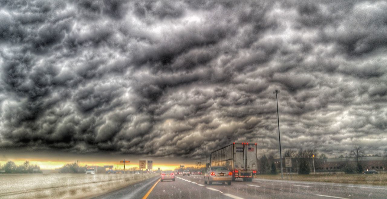 cloud - sky, transportation, road, weather, storm cloud, sky, day, outdoors, no people, land vehicle, car, the way forward, nature, thunderstorm