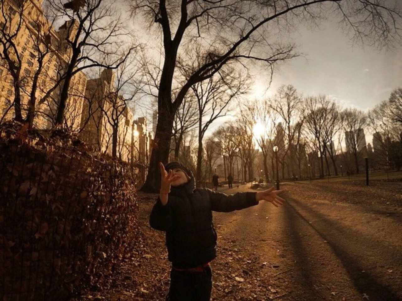 tree, bare tree, one person, standing, outdoors, nature, photographing, leisure activity, winter, real people, branch, lifestyles, photography themes, adult, night, people, young adult, adults only, one man only, sky, warm clothing, only men