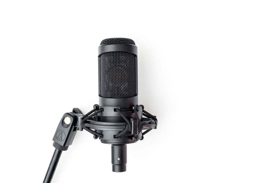 Black White Music Audio Sound Sing Song Professional White Background Mixing Sound Micro Microphone Recording Studio Singing Mic