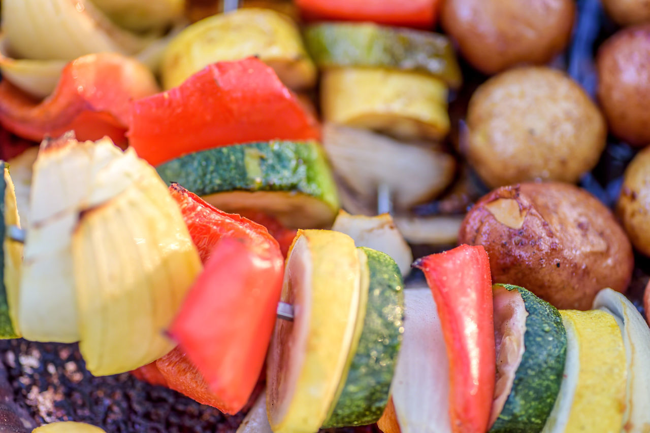 Cooking Grilling ShishKabob Close-up Day Food Food And Drink Freshness Healthy Eating Multi Colored Ready-to-eat Skewered Food Variation Vegetarian Lifestyle