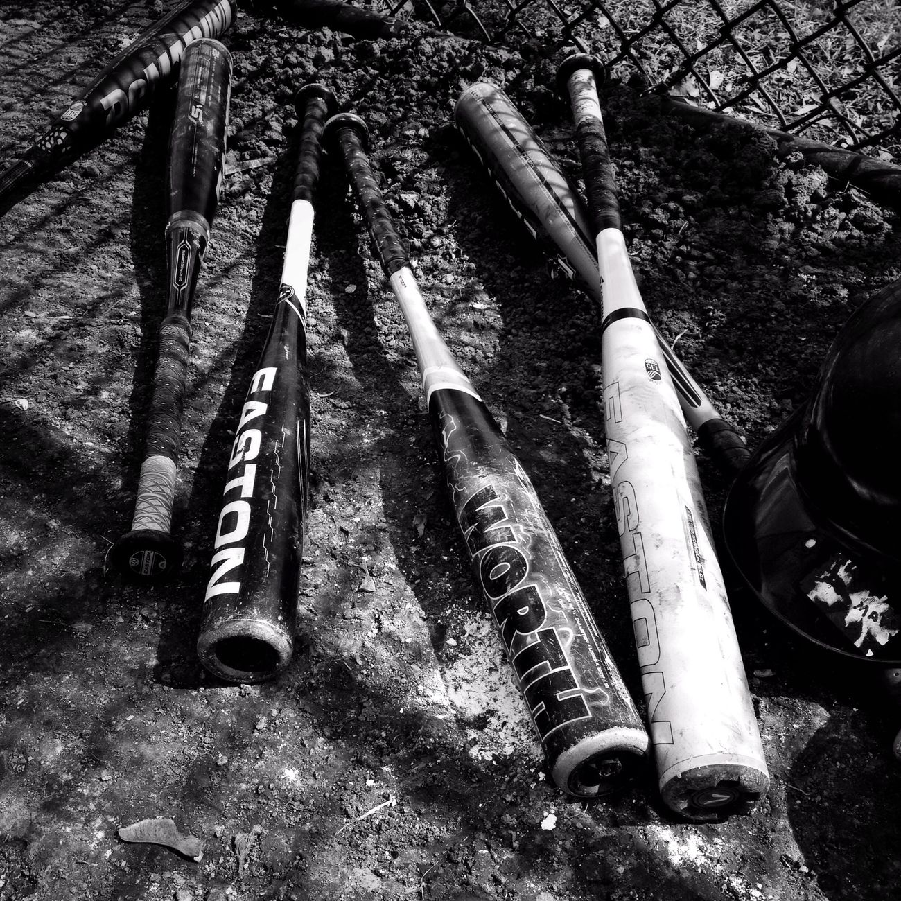 Little league bats Hipstamatic Baseball Black And White