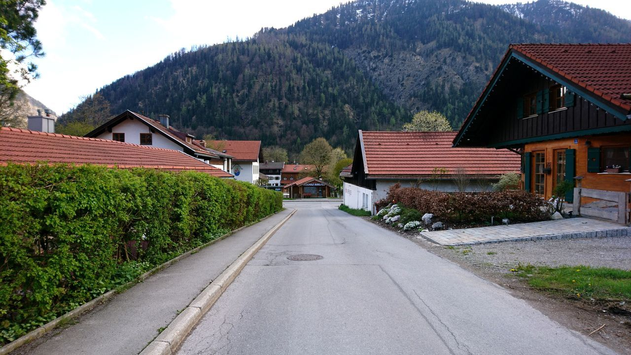 Streets of Bayrischzell. · Bayrischzell Bavaria Bayern Germany Village Architecture Rural Scene Streets Road Residential District Mountains View