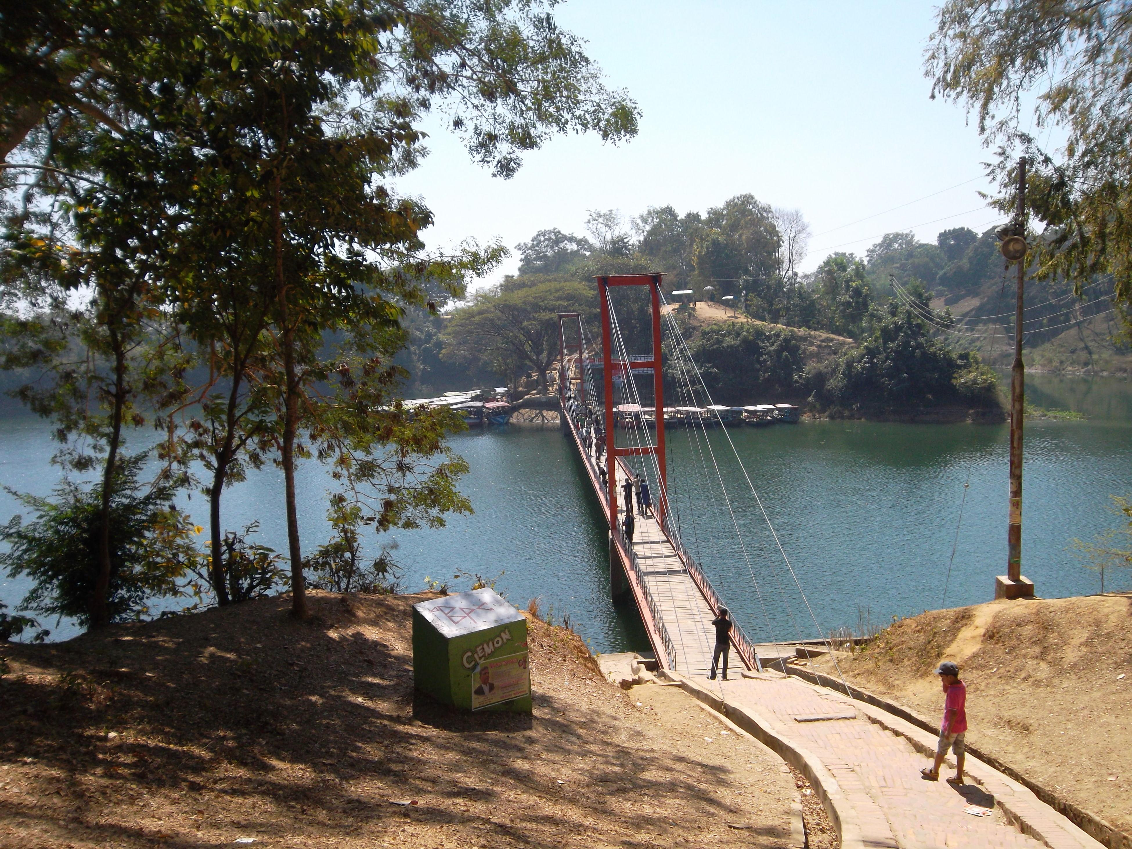 Rangamati Hanging Bridge. It's a beautiful tourism place in Bangladesh Clear Sky Day Hanging Bridge Lake Side Lake View Lakeshore Nature Outdoors Sky Tree Water
