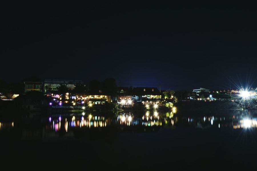 Night Reflection Water Outdoors Cityscape Sky City