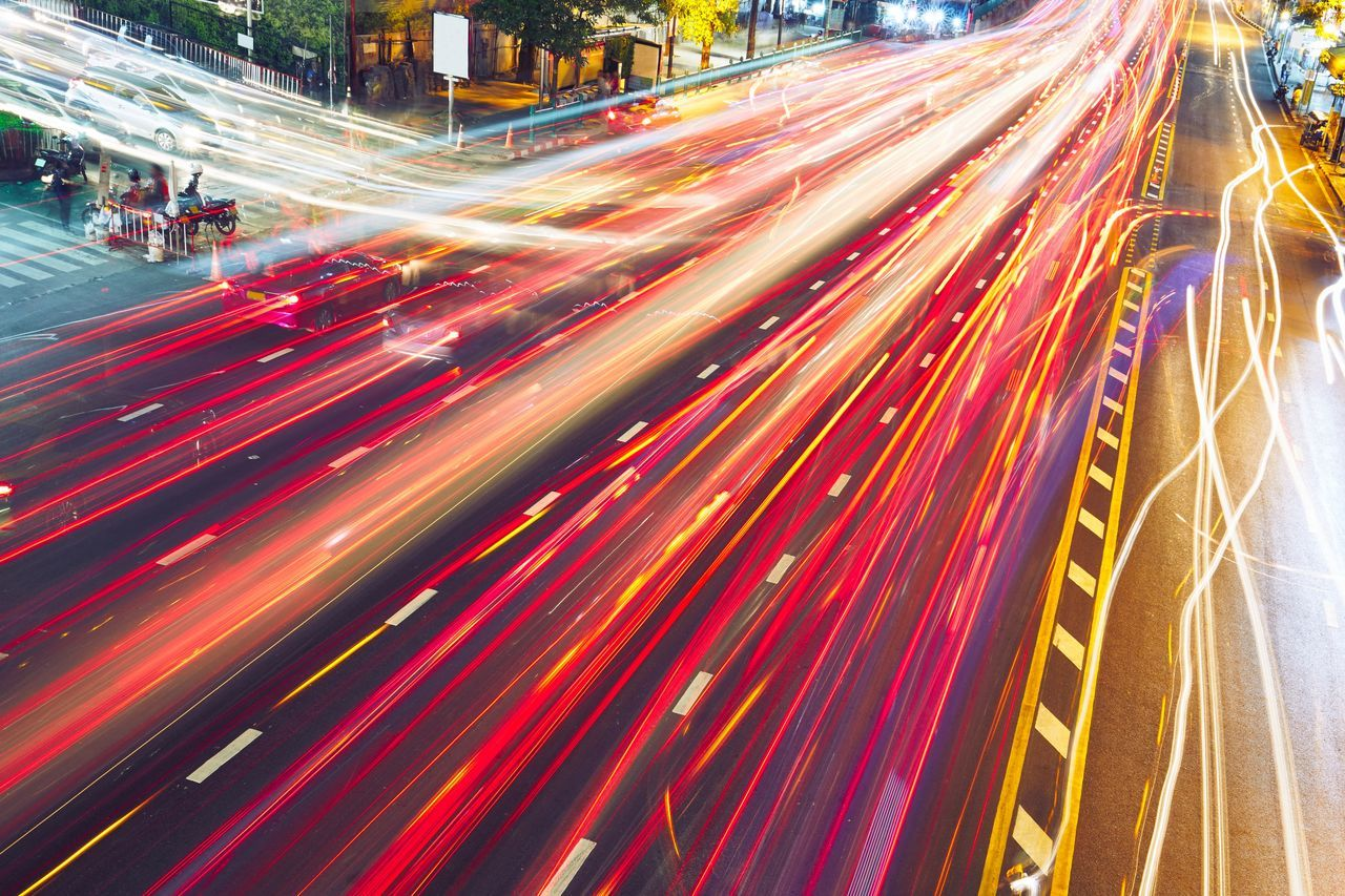 Busy street at the night in Bangkok, Thailand Busy Busy Street Capital Cities  Car City City Life Crossroads Evening Light Long Exposure Motion Multiple Lane Highway Night Nightlife Nightphotography Red Road Rush Hour Speed Street Streetphotography Transportation Travel Urban Way