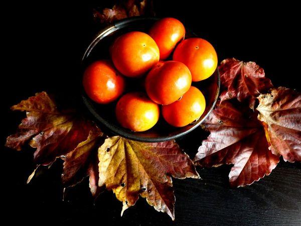 Abundance Autumn Autumn Leaves Food Fruit Bowl Orange Color Persimmon Season  Still Life