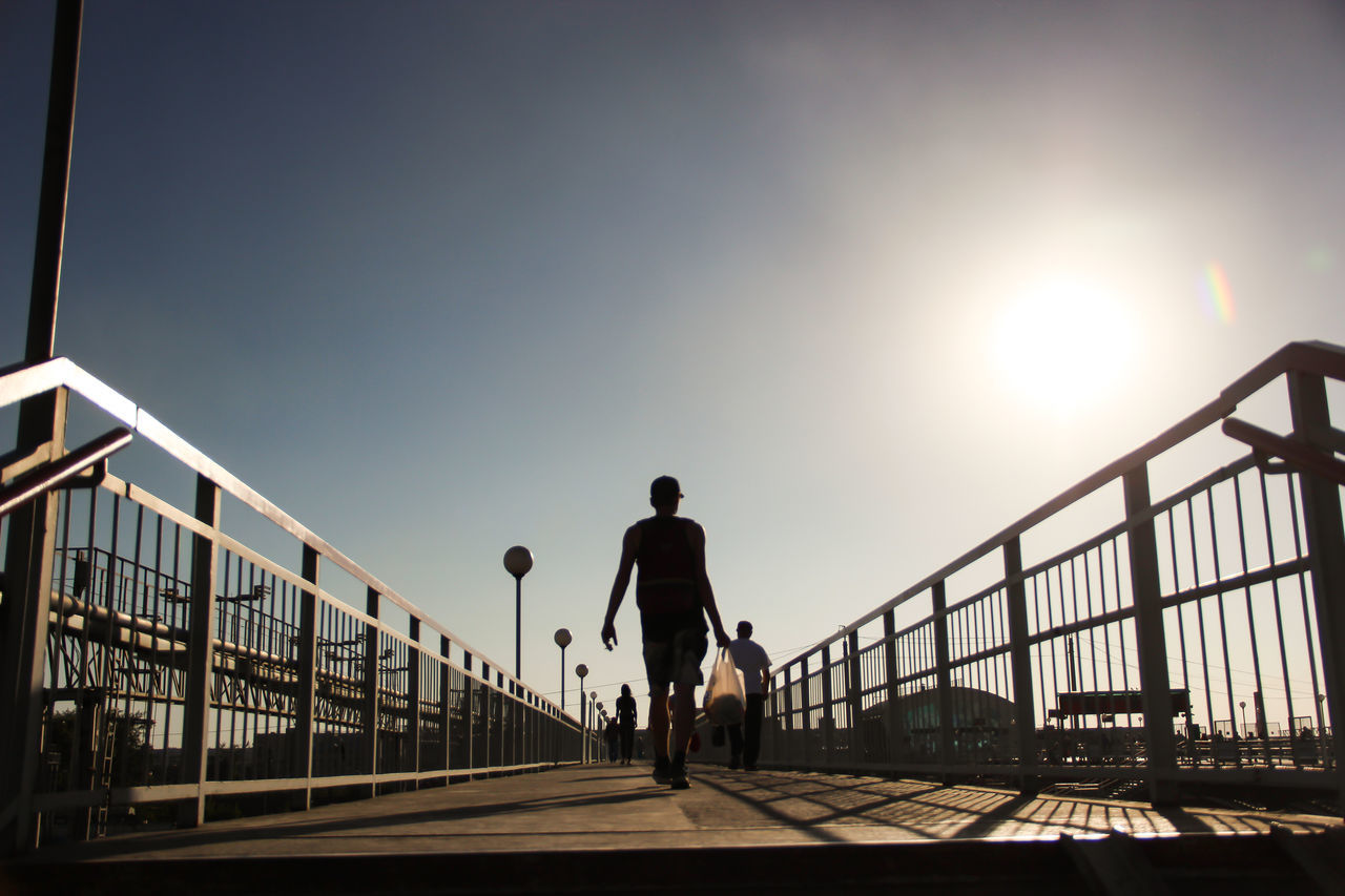 Light & Shadow Architecture Boy Bridge - Man Made Structure Built Structure City Clear Sky Day Full Length Lifestyles Light And Shadow Live For The Story Men One Person Outdoors People Railing Real People Silhouette Sky Sportsman Street Photography Streetphotography Sun Sunlight The Street Photographer - 2017 EyeEm Awards