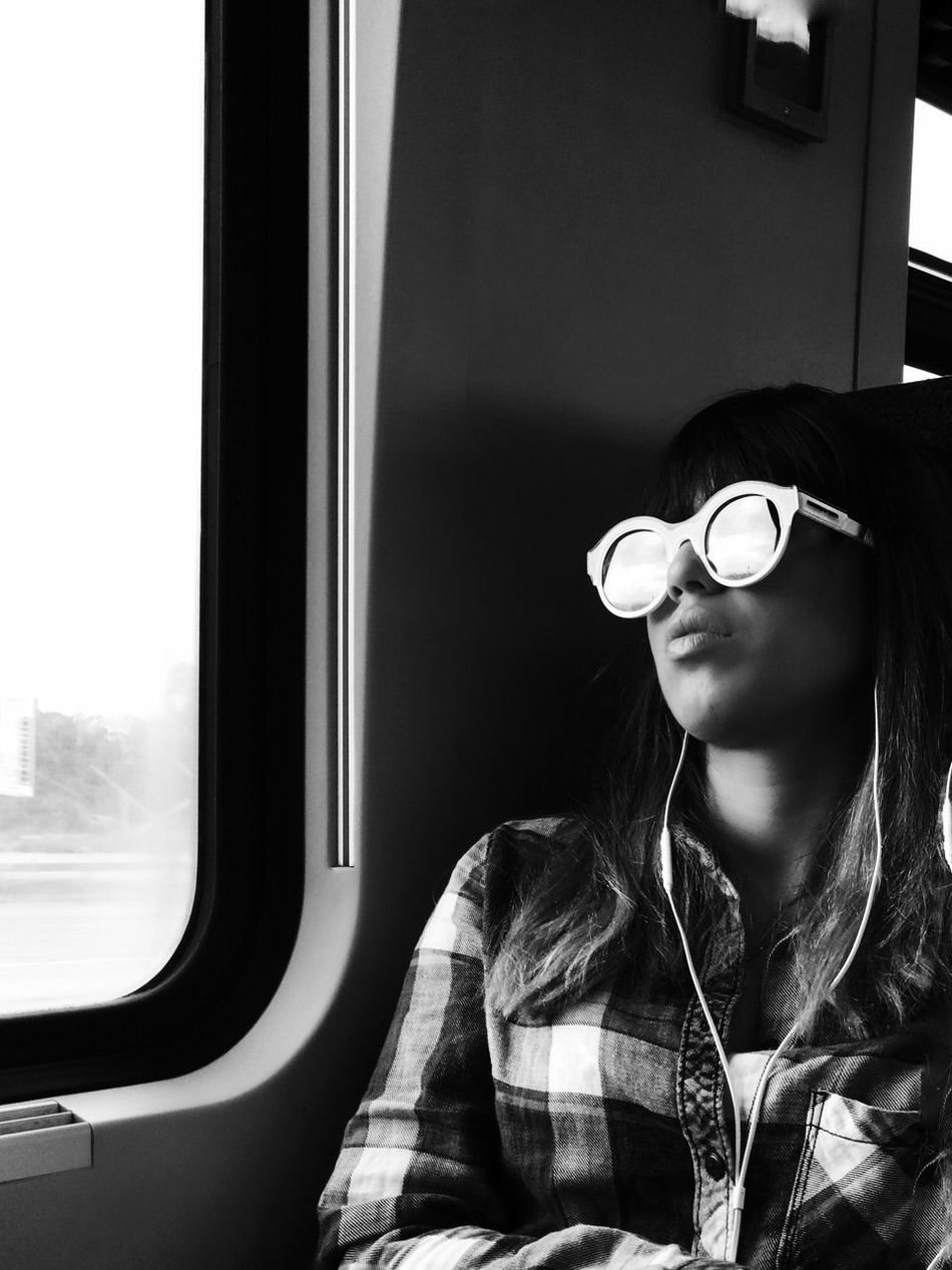 TCPM Transportation Young Adult Real People Mode Of Transport Headshot One Person Public Transportation Train - Vehicle Young Women Eyeglasses  Looking Through Window Sitting Headphones Day Adult People Mytrainmoments Mydtrainmoments מייאייפון7 Shotoniphone7plus IPhone7Plus מיישחורלבן TCPM