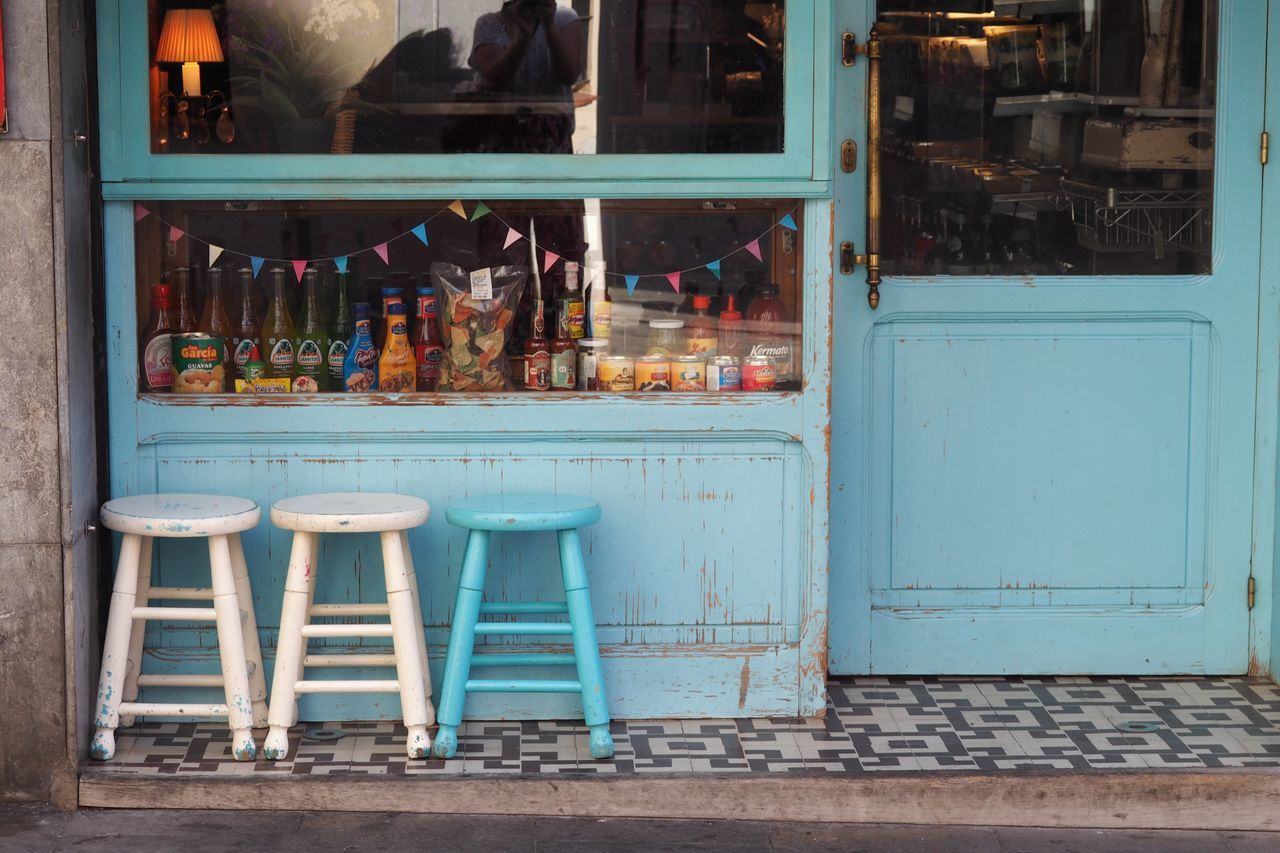 Baby Blue Bar Stools Blue Cafe Chairs Choice Day Food Food And Drink Food And Drink For Sale Indoors  Leisure Activity No People Outside Retail  Stool Variation