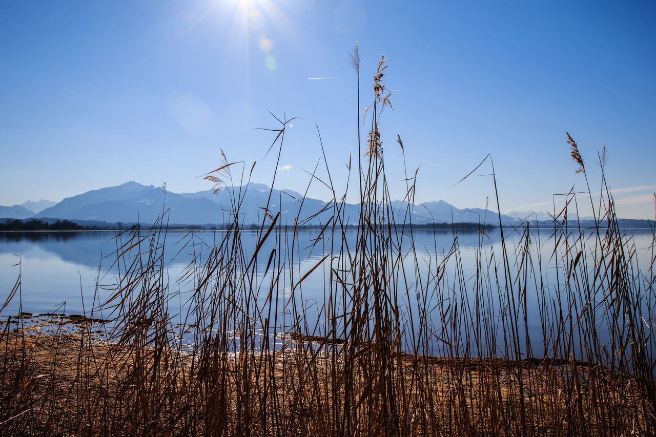 Lake Landscape Mountain Nature No People Outdoors Reed - Grass Family Sky Sun Water Wetland