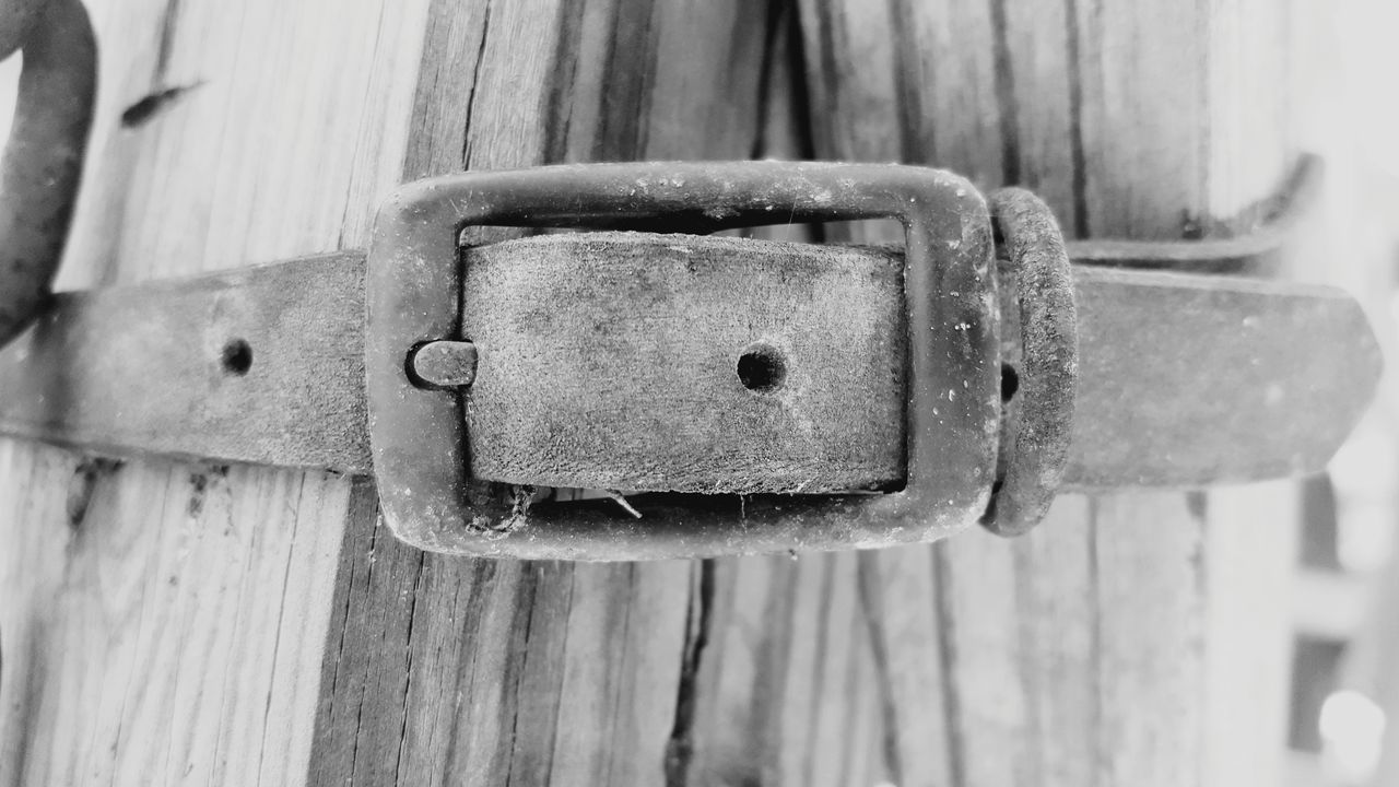 Buckle up - simply a weathered buckled out in a Texas backyard. Interesting nonetheless. Close-up Security Rusty Wood - Material Outdoors Cellphone Photography No People Black And White Photography Simple Simplicity Buckle Belt  Weathered Outside