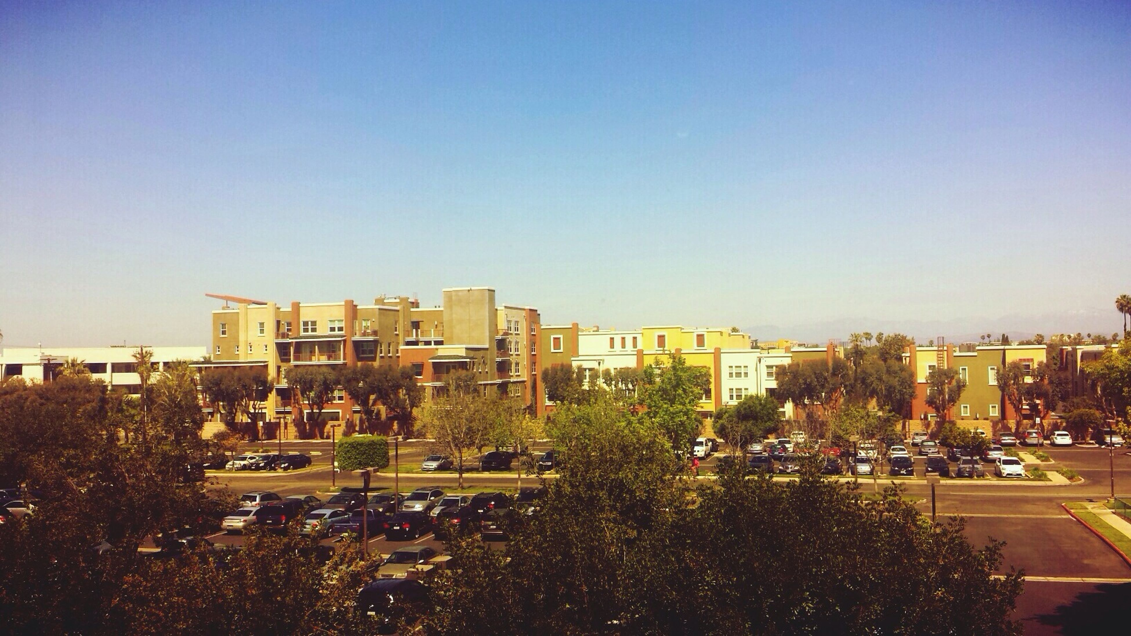 clear sky, copy space, building exterior, architecture, built structure, tree, city, blue, residential structure, residential building, residential district, city life, house, outdoors, cityscape, high angle view, growth, day, sunlight, building