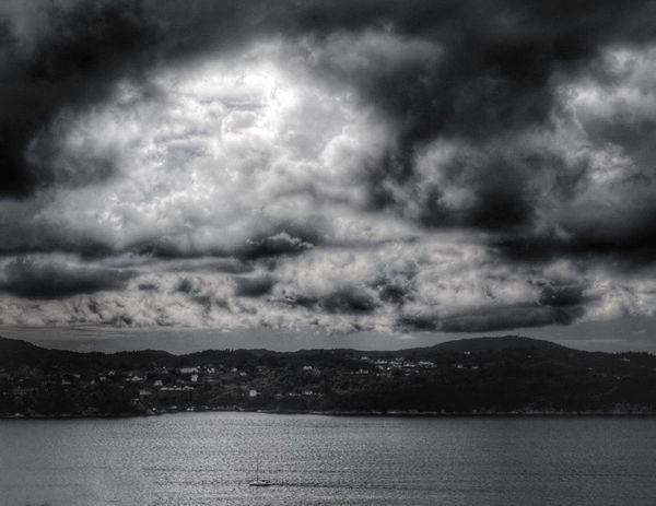 Ship Cloudy Sky Light Breaking