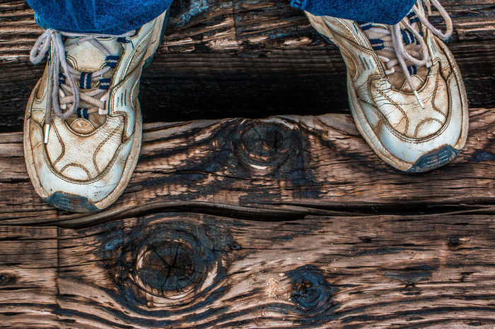 Blue Close-up Colours Creosote Day Designs Detail No People Part Of Railroad Bridge Railroad Ties Shoes Sneakers Space Between Standing Still Life Textures The Week On EyeEm Weathered Weathered Wood Wood Wood - Material Wood Grain Wooden Worn Out