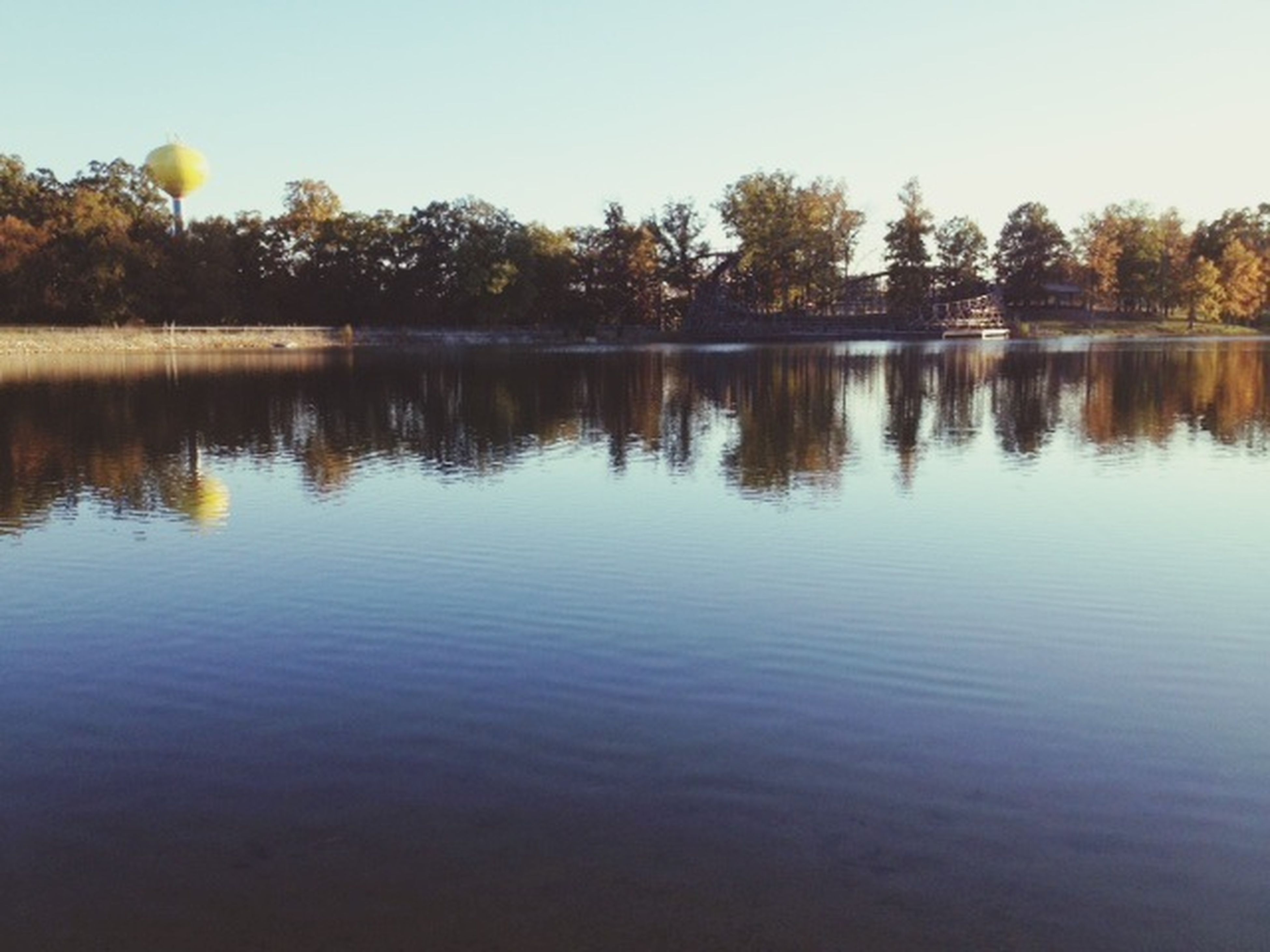 tree, reflection, water, lake, tranquility, tranquil scene, waterfront, clear sky, scenics, beauty in nature, nature, idyllic, sky, calm, standing water, outdoors, river, non-urban scene, no people, growth
