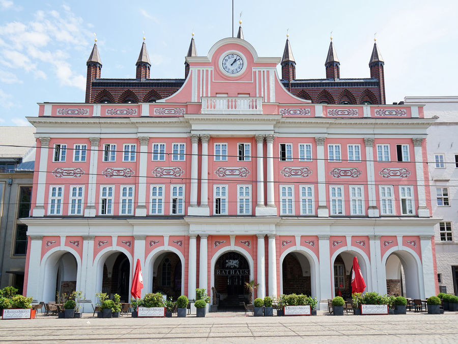 city hall Arch Architectural Column Architecture Built Structure City Hall Day Exterior Façade Germany Historic Neuer Markt No People Pink Rathaus Rostock Tourism Town Hall Travel Travel Destinations