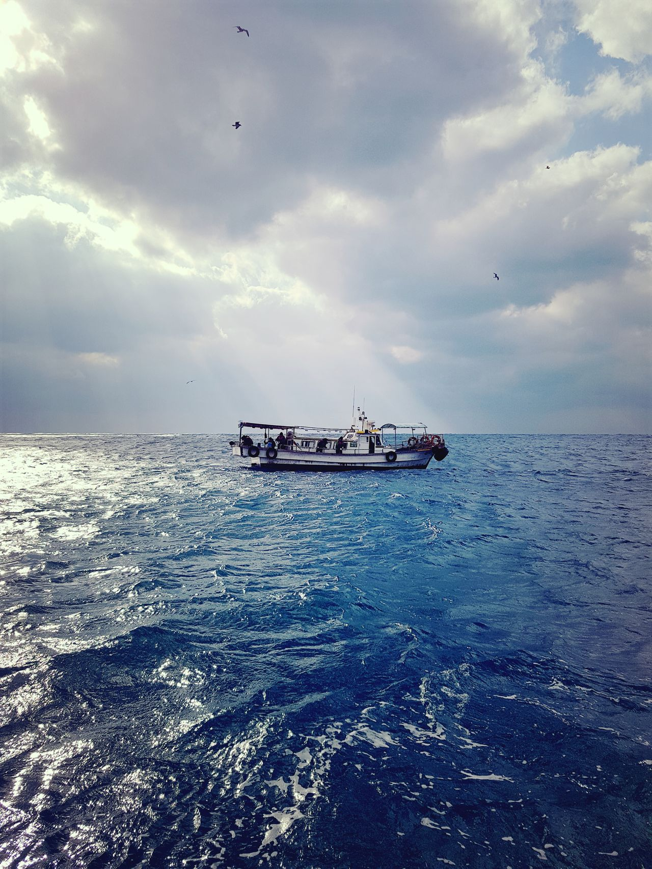 Sailing fishing boat in choppy sea Nautical Vessel Sunset Cloudy Sky Blue Sea Jeju Island, Korea Chagui-do Small Fishing Boat. Eyeemphotography Fishing On The Boat With Son Family Trip Blue Wave