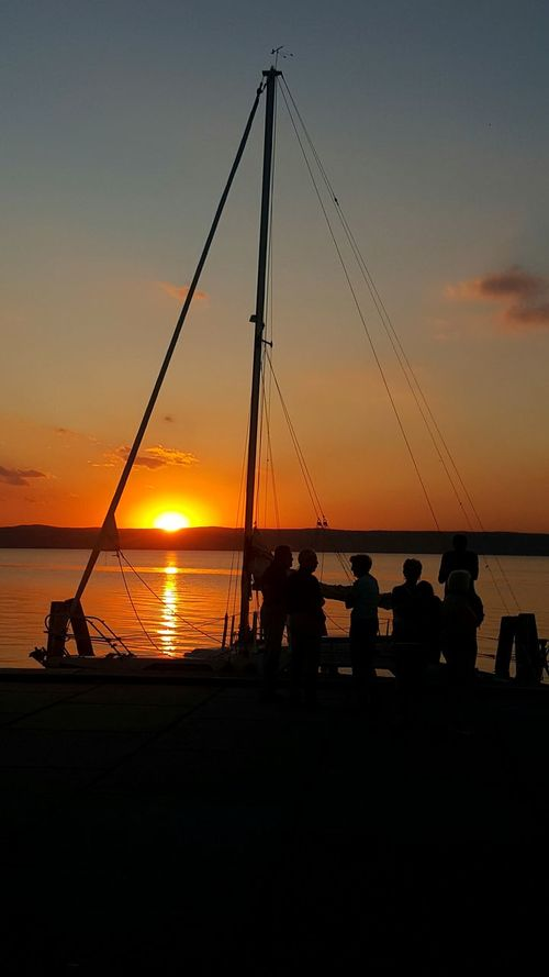 Sunset Silhouette Sea Water Sky Idyllic Outdoors Nautical Vessel Scenics Commercial Dock Tranquil Scene Nature People Beauty In Nature Sailing Ship See Neusiedlersee Österreich Podersdorfamsee Podersdorf 2016 Only Men Adults Only Adult