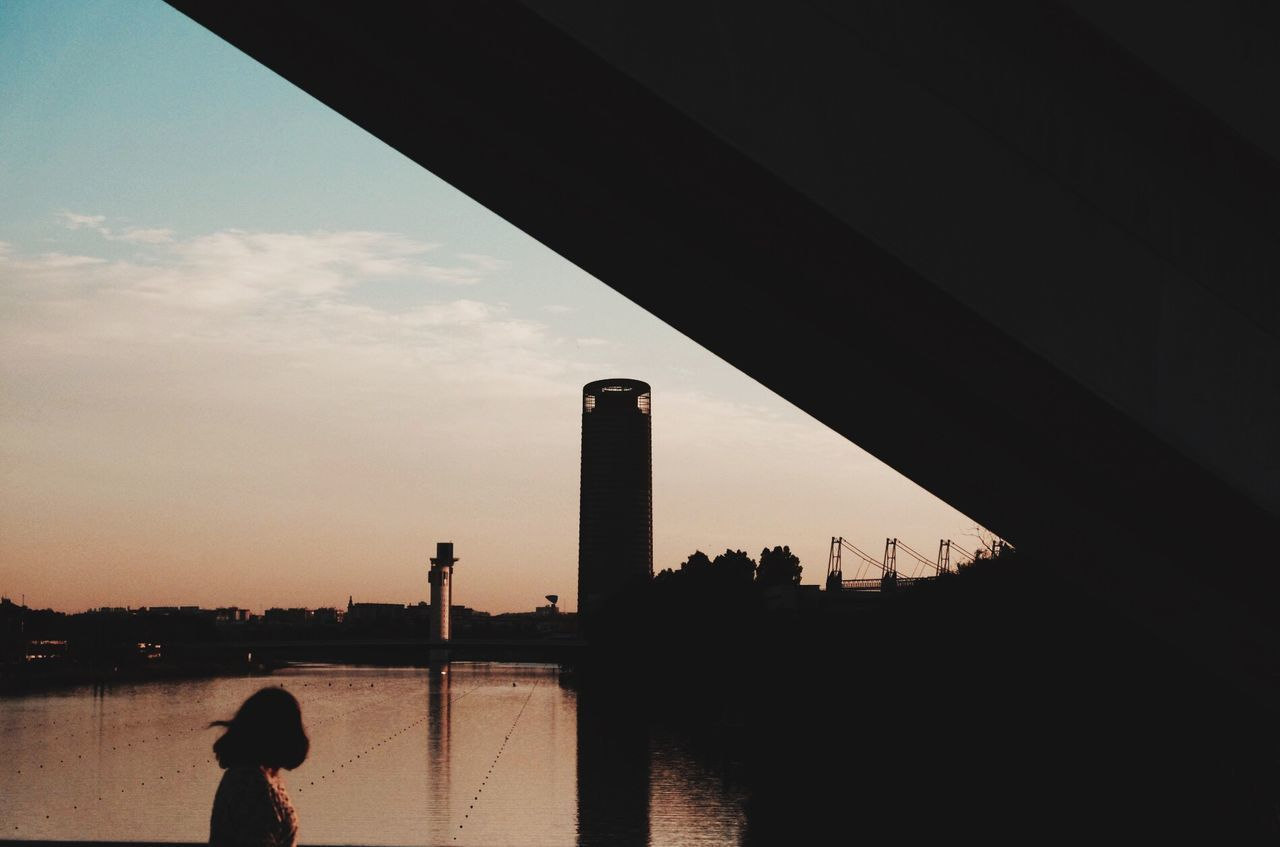 Built Structure Building Exterior Reflection Silhouette Sunset Cloud - Sky Water Architecture Write Something About You Seville Sevilla Torre Pelli  Barqueta