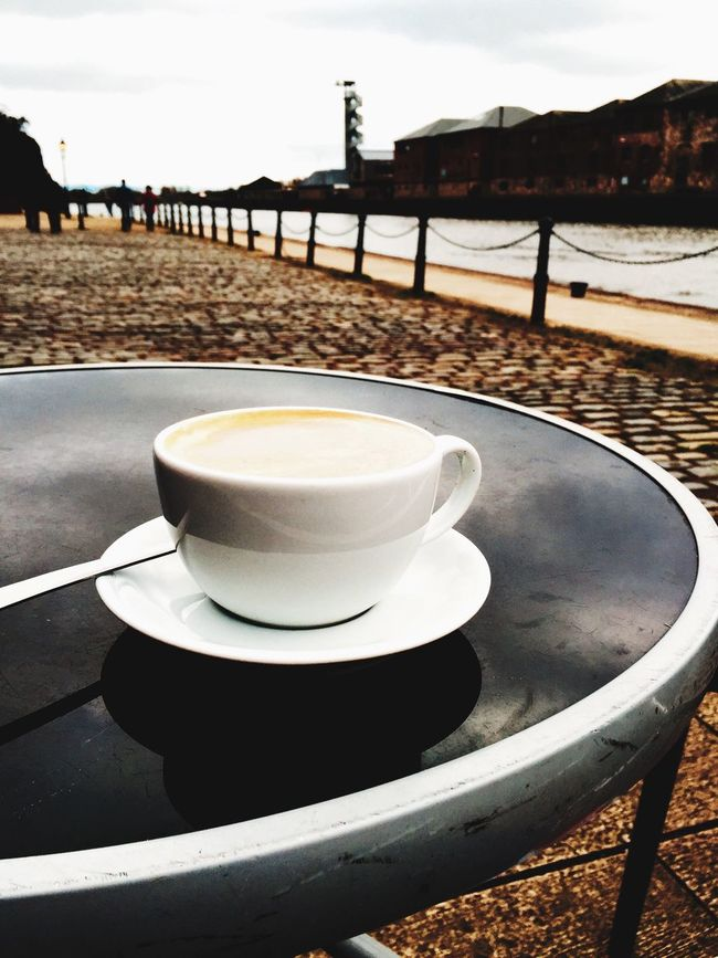 The simple life..... Cappucino Relaxing Coffee Break River View Iphone6plus IPhoneography Sky And Clouds