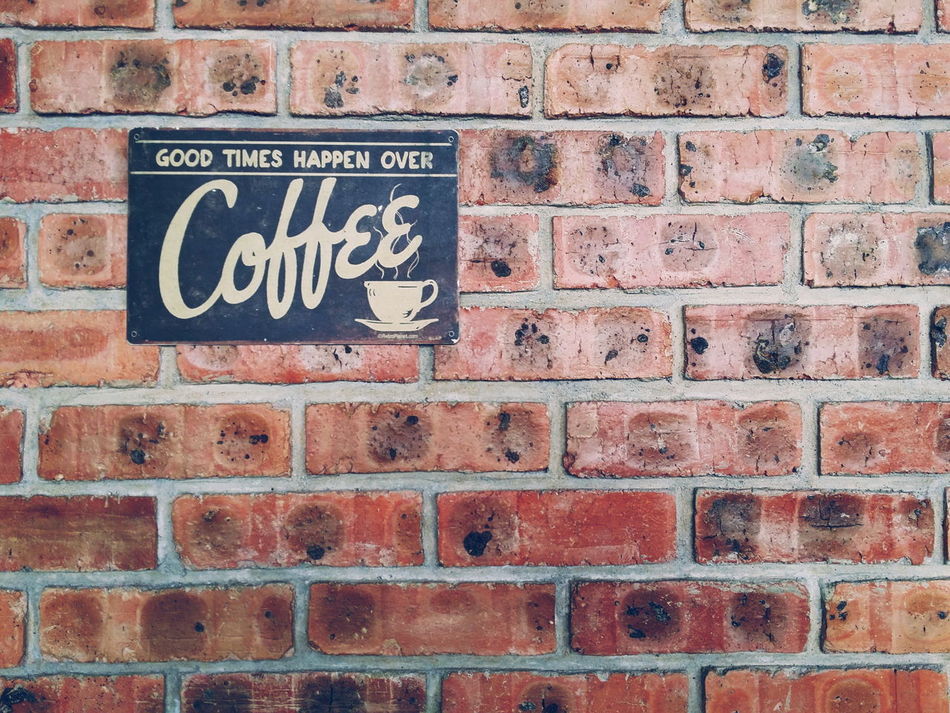 Brick Wall Text Metal Outdoors Communication Day No People Built Structure Architecture Close-up No Parking Sign Coffee