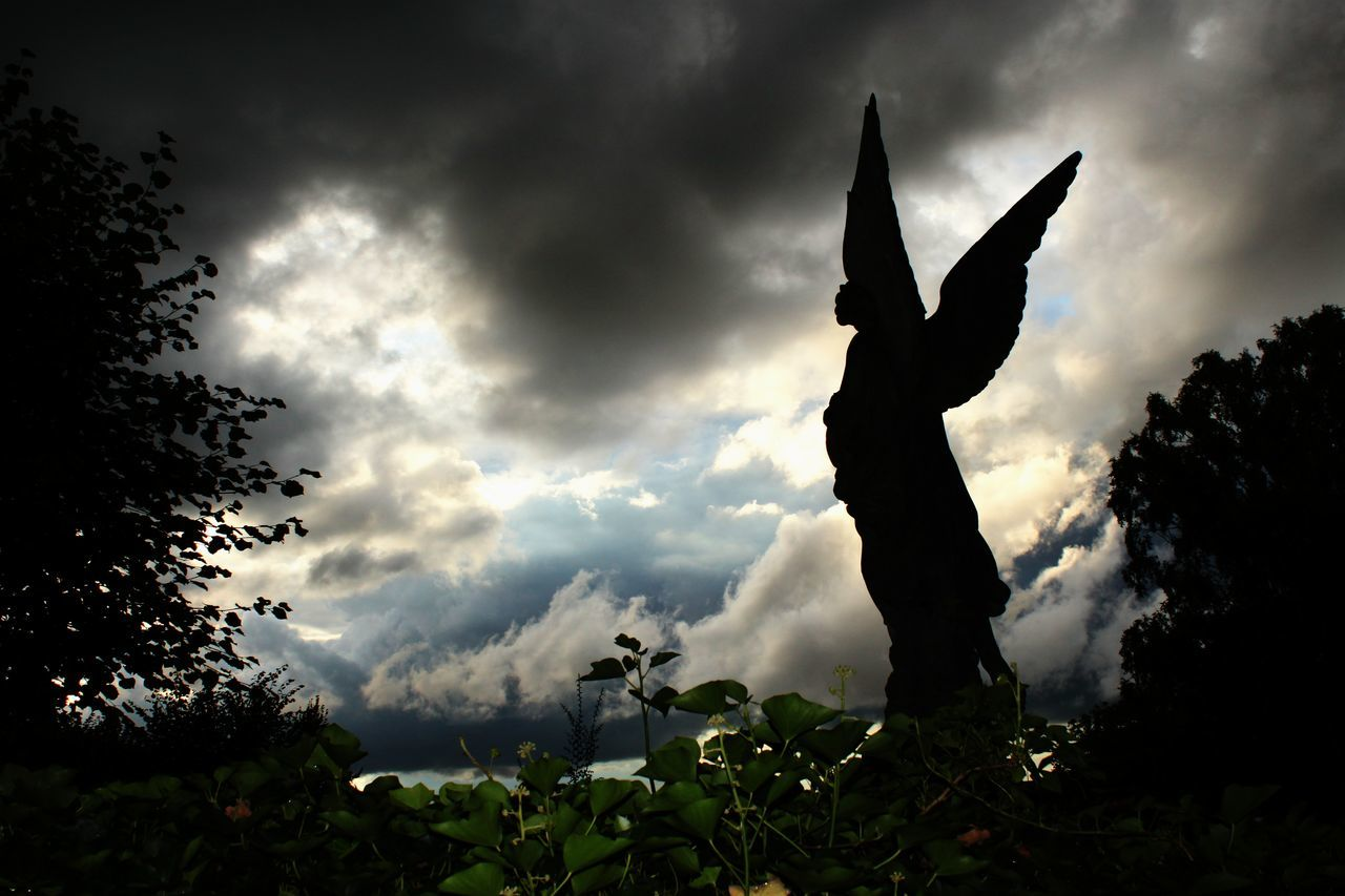 Angel Angel Wings Biblical  Catholic Catholicism Christianity Christianity .. Cloud - Sky Darkness And Light Day Dramatic Dramatic Sky Fear Nature No People Outdoors Religion Silhouette Spooky Statue Stormy Clouds Sunbeam Tree