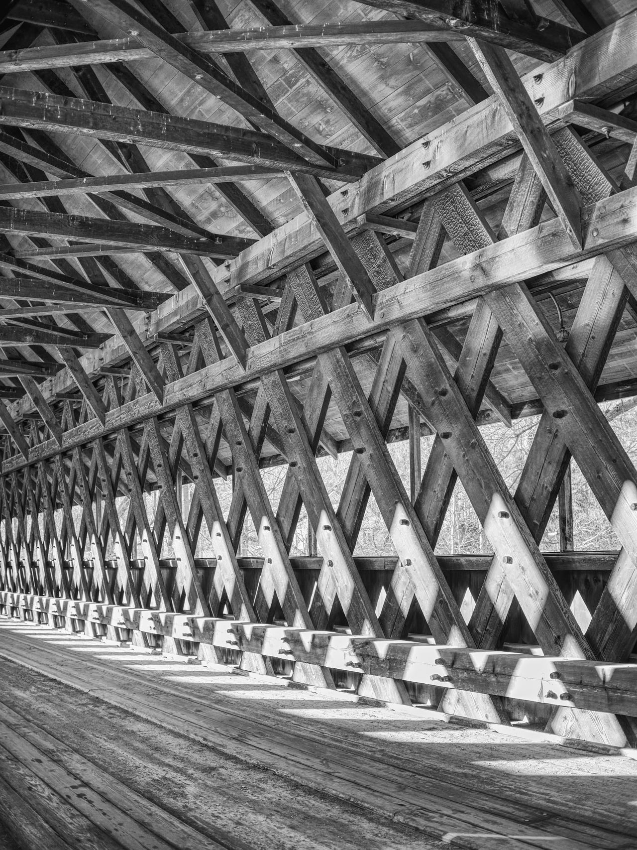 Architecture Beams Blackandwhite Bridge - Man Made Structure Built Structure Connection Day No People Outdoors Roof Beam Street Transportation Underneath Wooden
