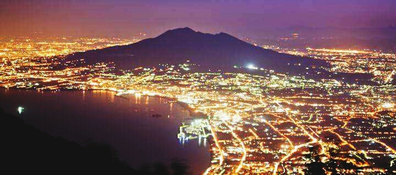 Illuminated Night Cityscape City Aerial View Sea Mountain City Life Water Sky Coastline Tranquility Distant Scenics Physical Geography Electric Light Nature Outdoors No People Residential District HerMajesty Vesuvio Vesuviocoast Vesuvius Naples In Faire