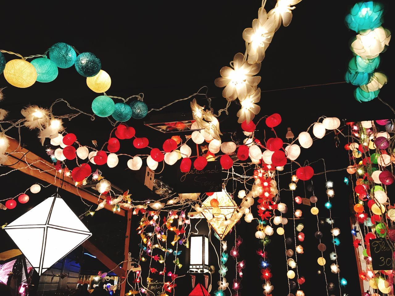 christmas decorations illuminated Low angle view Lighting equipment night Celebration no people multi colored outdoors large group of objects sky Chinese Lantern Festival