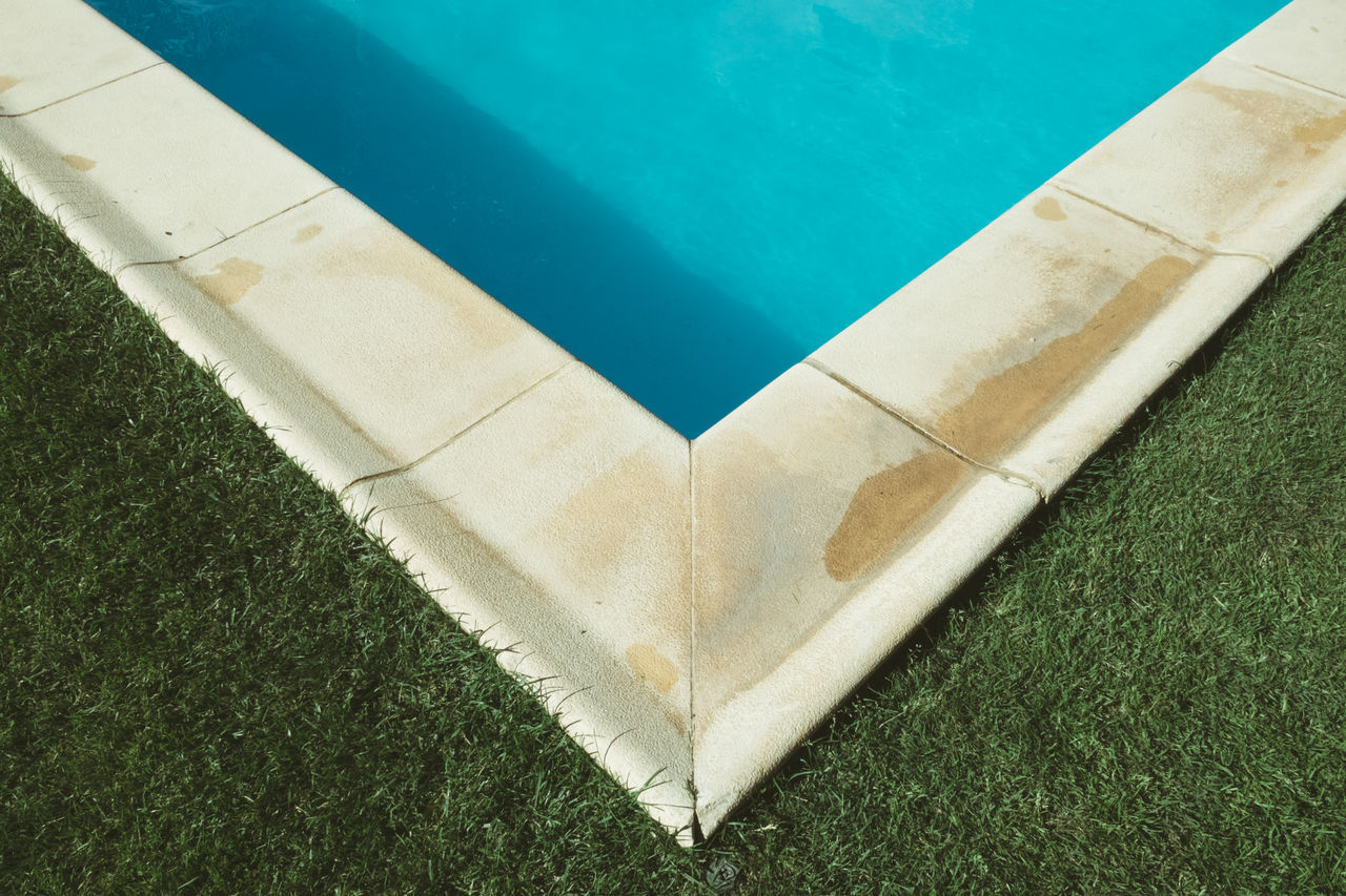 Angle Blue Close-up Day Directly Above Freshness Grass Green Color High Angle View Nature No People Outdoors Summer Summertime Swimming Swimming Pool Water