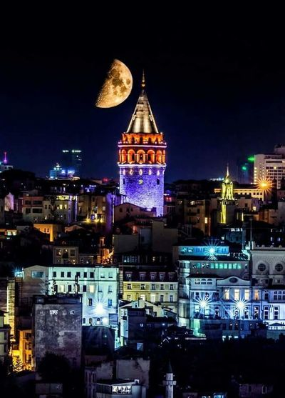 Architecture Building Exterior Built Structure Illuminated Night City Cityscape City Life Tower Tall - High Spire  Sky Outdoors Building Story Old Town Skyscraper Façade Residential District Urban Skyline No People