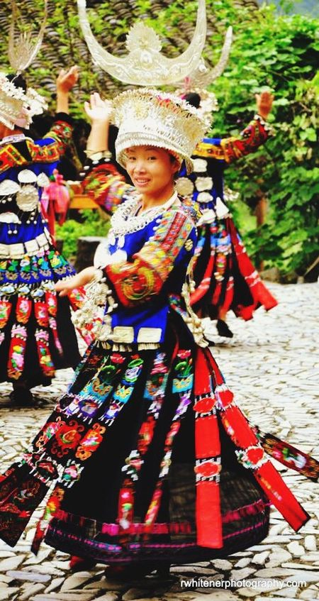 Miao Minority Guizhou province, China. Yunnan ,China Miao Woman Traditional Dancing Dancing Around The World Dancing Woman Silver  Head Dress Colorful People