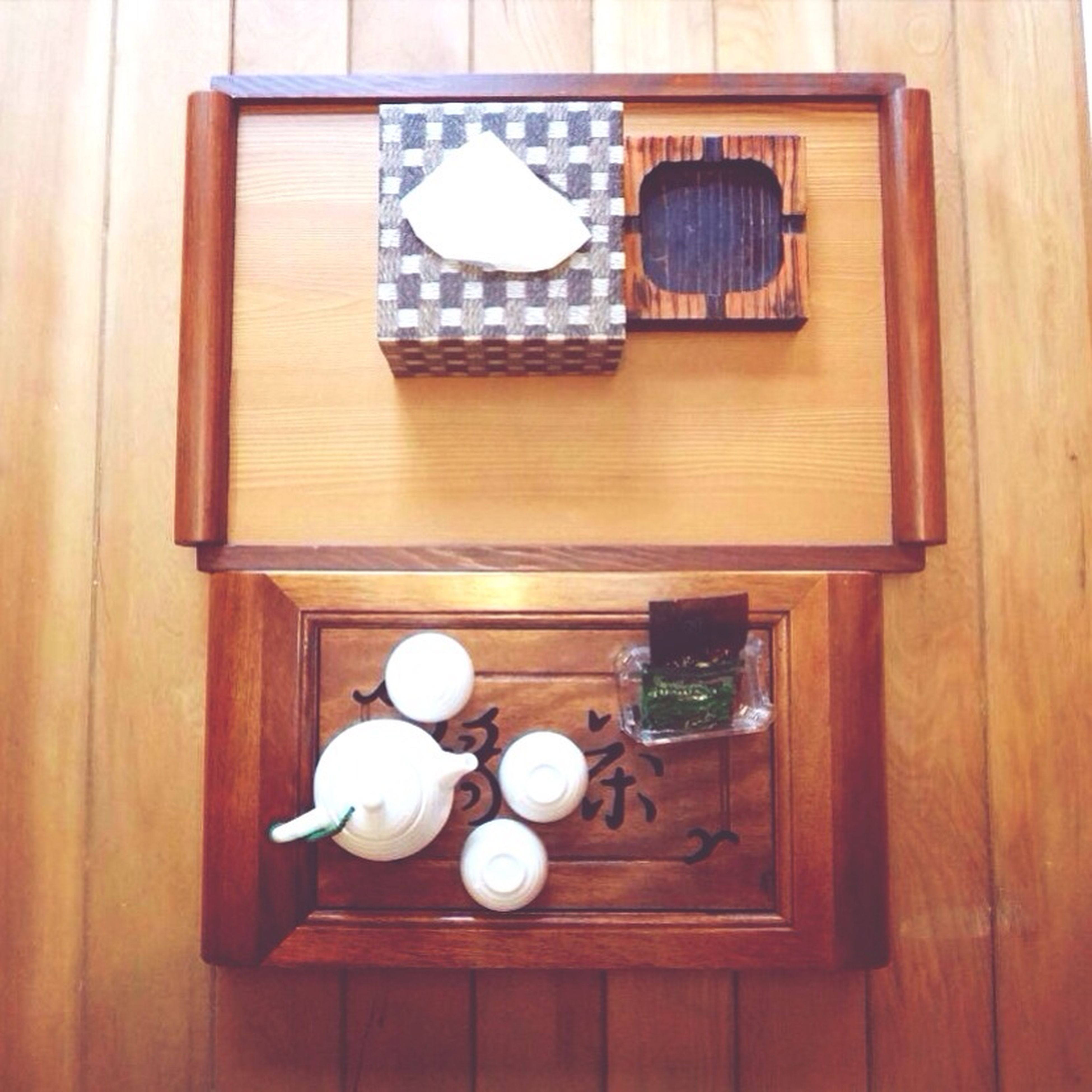 indoors, table, wood - material, still life, food and drink, directly above, high angle view, wooden, drink, plate, home interior, no people, food, coffee cup, freshness, wood, refreshment, glass - material, healthy eating, decoration